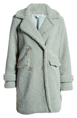 Woven Heart Faux Shearling Teddy Trench Coat mint