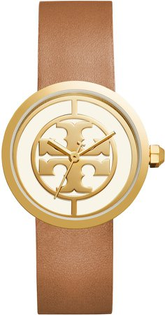 Reva Logo Dial Leather Strap Watch, 36mm