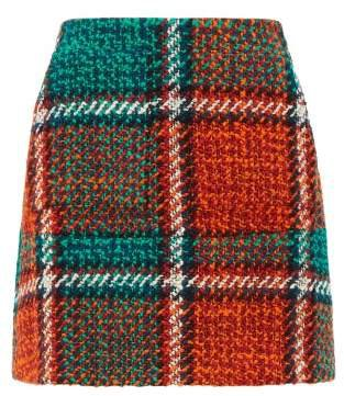 Checked Wool Blend Tweed Mini Skirt - Womens - Red Print