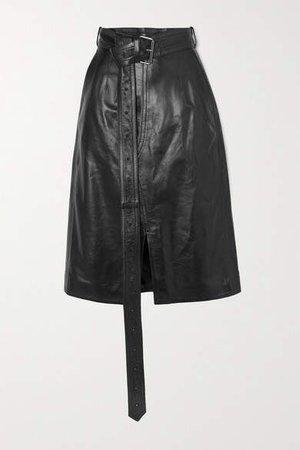 Belted Leather Skirt - Black