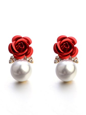 Rose & Faux Pearl Design Stud Earrings