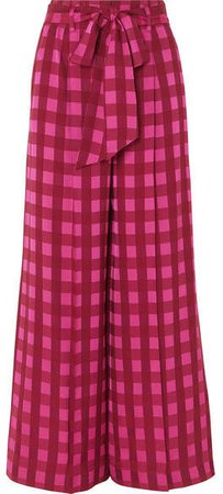 Stirling Checked Jacquard Wide-leg Pants - Bright pink