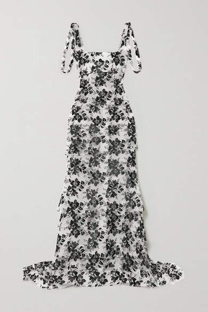 Tiered Embroidered Tulle Gown - Black