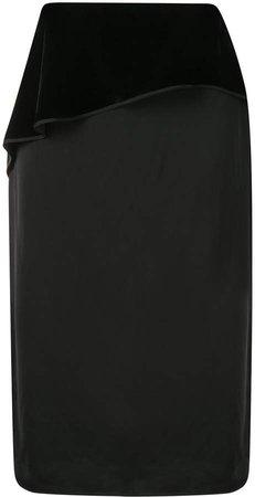 velvet panel midi skirt
