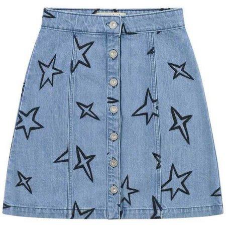 Star Embroidered Button Through Skirt