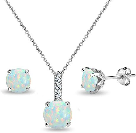 Amazon.com: Sterling Silver Synthetic White Opal & White Topaz Round Crown Stud Earrings & Necklace Set: Clothing