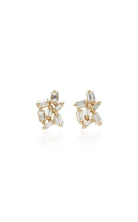 18K Gold Diamond Earrings by Suzanne Kalan | Moda Operandi