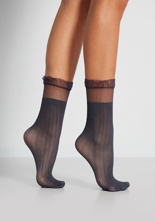 For the Frill of It Socks in Navy   ModCloth