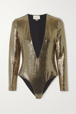 Gold Sequined tulle bodysuit | Gucci | NET-A-PORTER