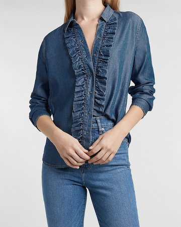 Ruffle Front Denim Shirt