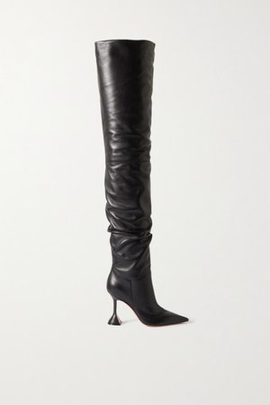 Olivia Leather Thigh Boots - Black