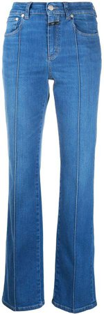 Exposed-Stitch High-Rise Flared Jeans