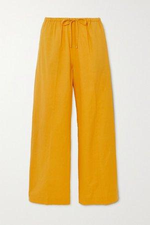Cotton-blend Wide-leg Pants - Yellow