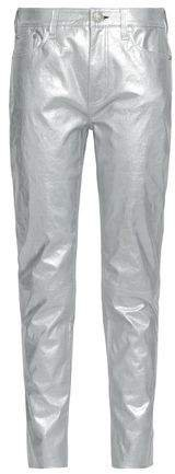 Metallic Cracked-leather Tapered Pants