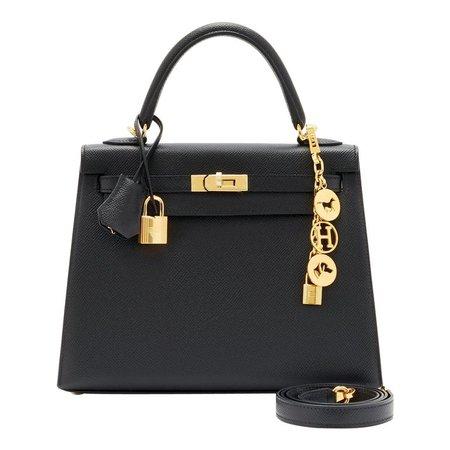 Hermes Kelly 25cm Jet Black Epsom Sellier Bag Gold Jewel D Stamp, 2019 For Sale at 1stdibs