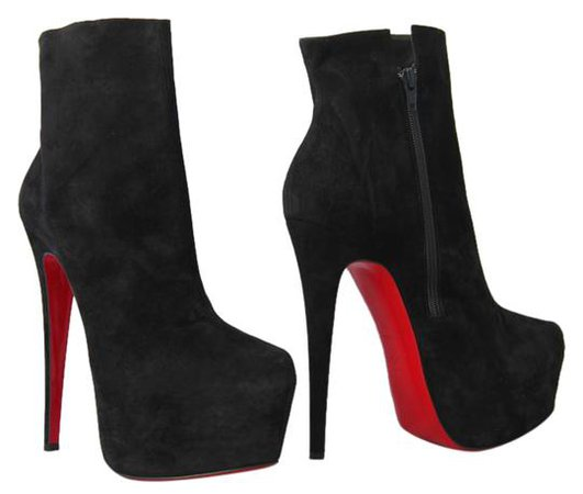 Christian Louboutin Black New 40it Daffodile Suede Platform Ankle High Heel Lady Red Sole Zip Boots/Booties Size EU 40 (Approx. US 10) Regular (M, B) - Tradesy