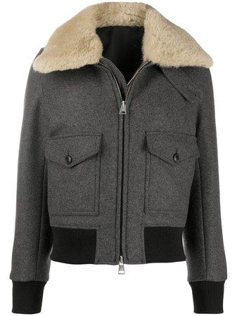 AMI Paris shearling-trimmed aviator jacket - FARFETCH