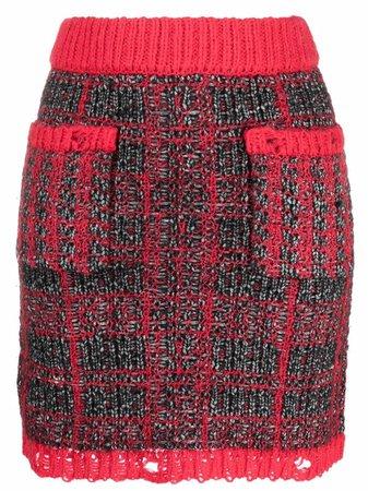 Pinko distressed-finish tweed skirt