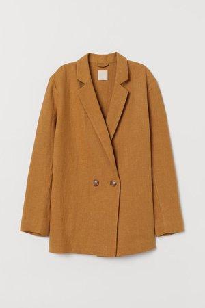 Linen-blend jacket - Dark beige - Ladies | H&M