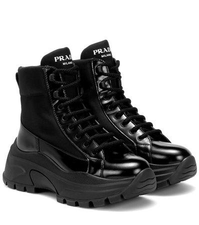 Prada - Technical-twill ankle boots | Mytheresa