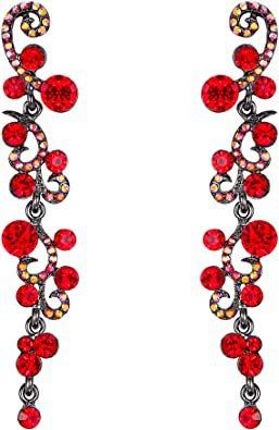 EVER FAITH Women's Crystal Elegant Banquet Flower Vine Wave Dangle Earrings Red Black-Tone