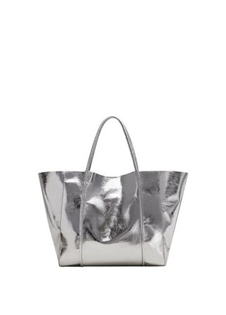 MANGO Metallic-effect shopper bag