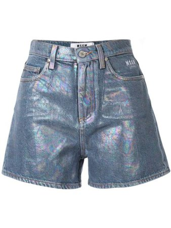 MSGM Iridescent Denim Shorts - Farfetch