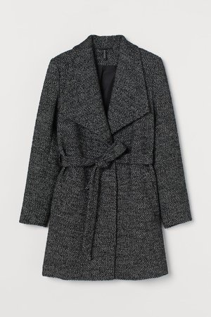 Short Wool-blend Coat - Black melange - Ladies | H&M US
