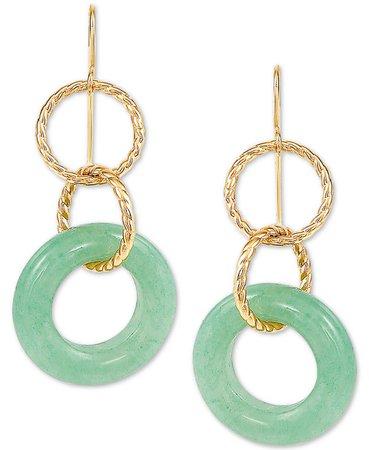 Macy's Jade Multi-Ring Drop Earrings in 10k Gold & Reviews - Earrings - Jewelry & Watches - Macy's