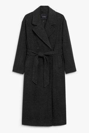 Long double-breasted coat - Black - Coats - Monki