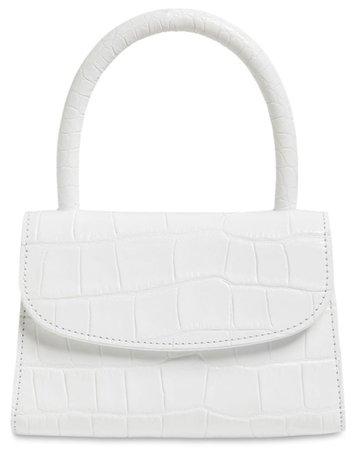 BY FAR White Croc Mini Handbag