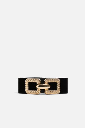 ELASTIC BELT WITH GOLD BUCKLE - DAY-DRESS TIME-WOMAN   ZARA New Zealand