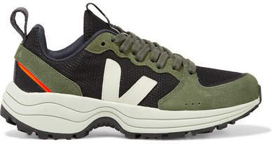 Venturi Suede And Leather-trimmed Mesh Sneakers - Army green