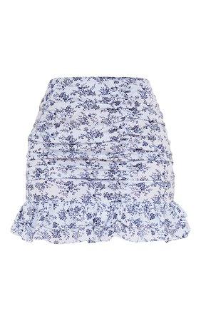 Blue Printed Ruched Frill Hem Mini Skirt   PrettyLittleThing USA