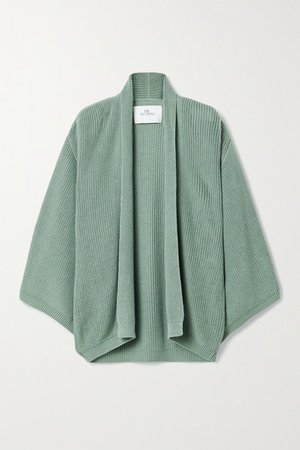 Oversized Ribbed Cotton Cardigan - Green