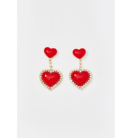 Rhinestone Heart Drop Earrings | Dolls Kill