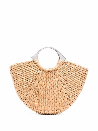 Shop brown Paco Rabanne woven straw tote bag with Express Delivery - Farfetch