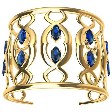 18 Karat Double Arabesque Cuff Bracelet with Sapphires For Sale at 1stDibs