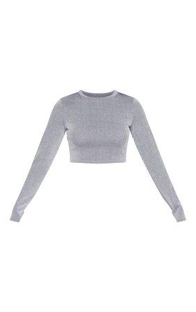 Grey Longsleeve Stripe Crop Top