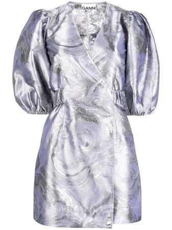 GANNI Jacquard puff-sleeve Wrap Dress - Farfetch
