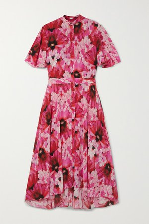 Floral-print Silk-georgette Midi Dress - Pink