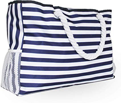 Amazon.com: Calmocasa Large Shoulder Canvas Beach Tote Bag with Zipper cotton Handles Mesh side Pockets for Travel Swim pool Water Repellent Washable organize Cash spade Towel Handbags Diapers Wallet Toys laundry: Sports & Outdoors