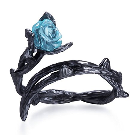 Amazon.com: Blue Rose Ring Black Thorns Flower Ring Sterling Silver (ring): Clothing