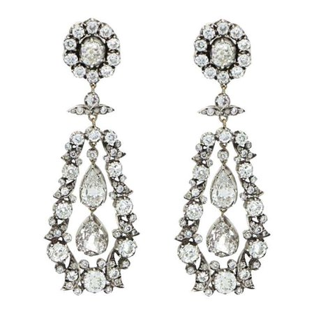 Victorian Old Cut Diamond Drop Cluster Earrings Set in Silver on Gold For Sale at 1stDibs