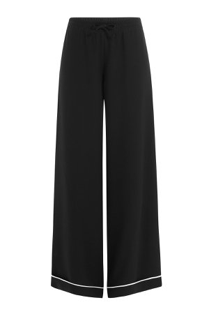 Silk Wide Leg Pants with Contrast Piping Gr. S