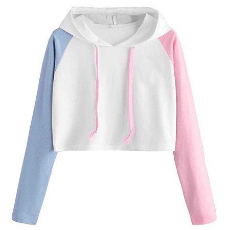 TOPUNDER Girl Hoodie Crop Top for Women Asymmetrical Long Sleeve Shirt Cute Blouse Casual at Amazon Women's Clothing store: