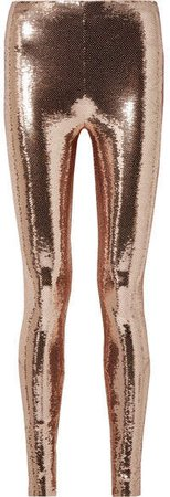Sequined Stretch-jersey Leggings - Blush
