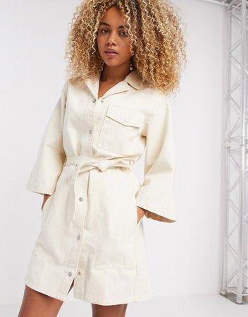 Weekday Ross organic cotton belted button-through denim dress in ecru   ASOS