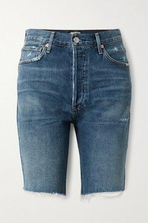 Claudette Distressed Denim Shorts - Mid denim