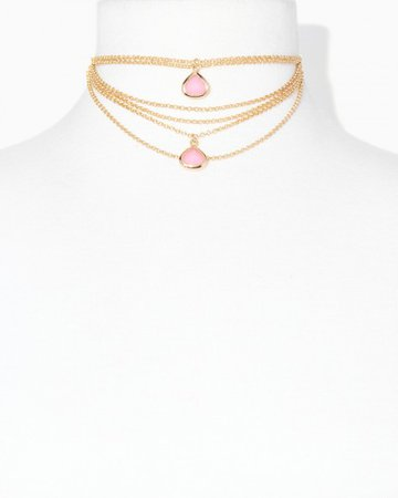 Rose Gold Rose Quartz Tiered Necklace